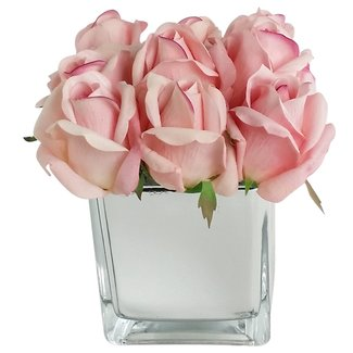 Artificial+Silk+Rose+Floral+Arrangement+in+Decorative+Vase