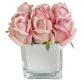 Artificial+Silk+Rose+Floral+Arrangement+in+Decorative+Vase
